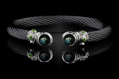 Capri Black Live Wire Bracelet with Green Amethyst & Hematite Doublets