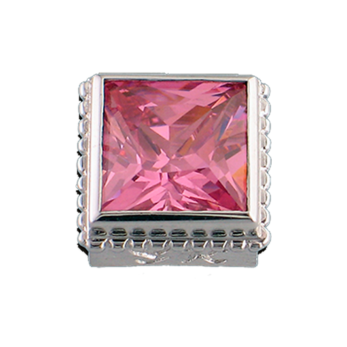 Square Opaque & CZ Sterling Silver Bezel with CZ Pink