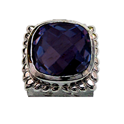 Square Gemstones Sterling Silver Bezel with  Quartz Doublet Tanzanite