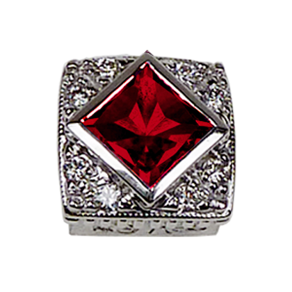 Square Halo Collection Sterling Silver Bezel with Lab  Ruby & CZ