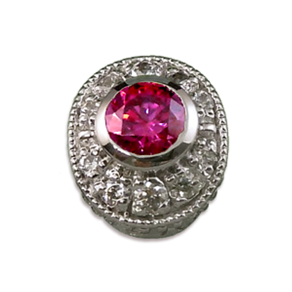 Oval Halo Collection Sterling Silver Bezel with Lab  Pink Sapphire & CZ