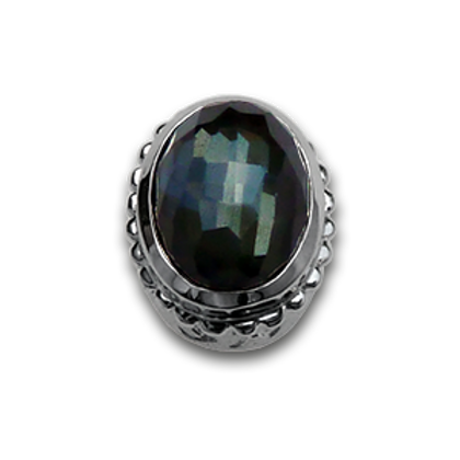 Oval Natural Doublets Sterling Silver Bezel with Green Amethyst & Hematite
