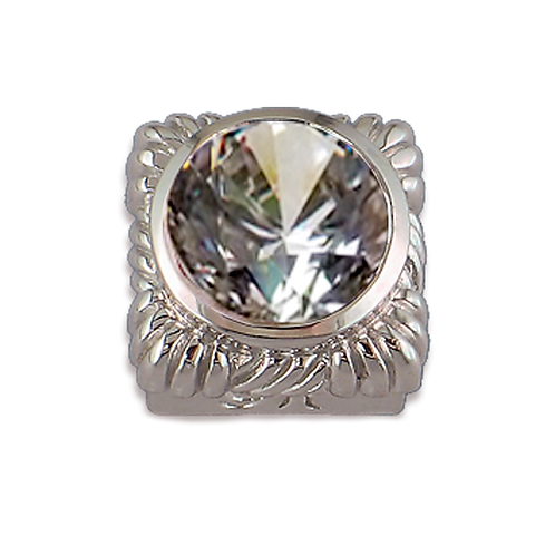 Square Opaque & CZ Sterling Silver Bezel with CZ White