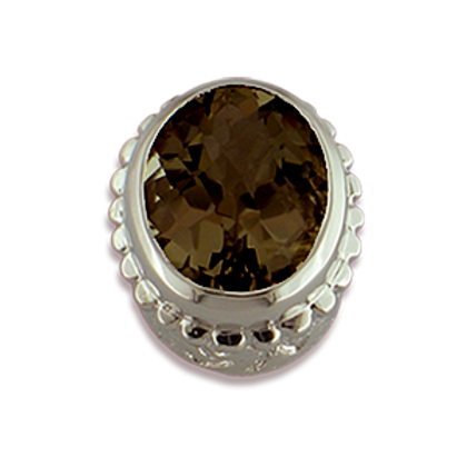 Oval Gemstones Sterling Silver Bezel with Smokey Topaz