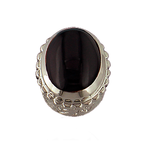 Oval Opaque & CZ Sterling Silver Bezel with Black Onyx