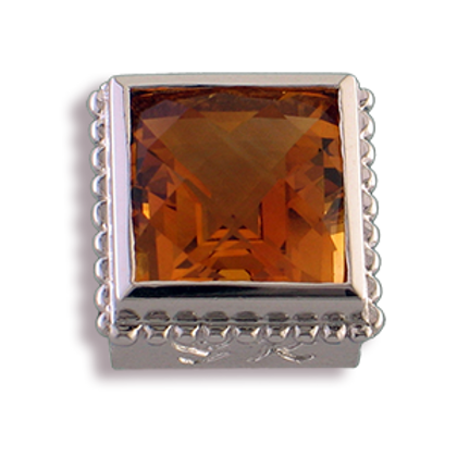 Square Gemstones Sterling Silver Bezel with Citrine
