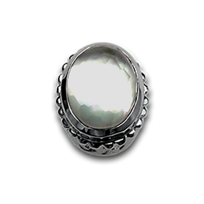 Oval Natural Doublets Sterling Silver Bezel with Chrystal & MOP