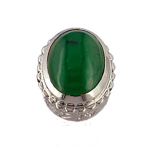 Oval Opaque & CZ Sterling Silver Bezel with Natural Jade
