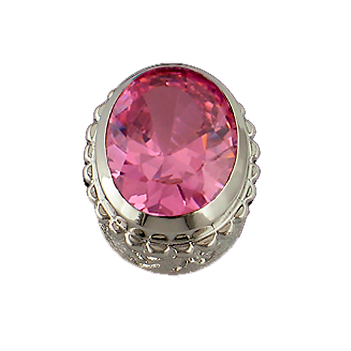 Oval Opaque & CZ Sterling Silver Bezel with CZ Pink