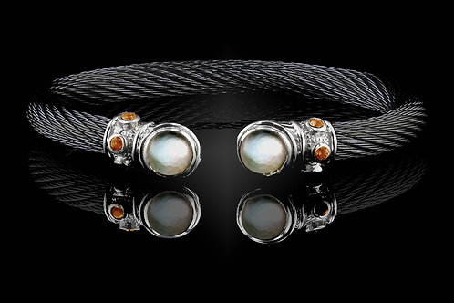 Capri Black Live Wire Bracelet with Crystal & Mother of Pearl Doublets