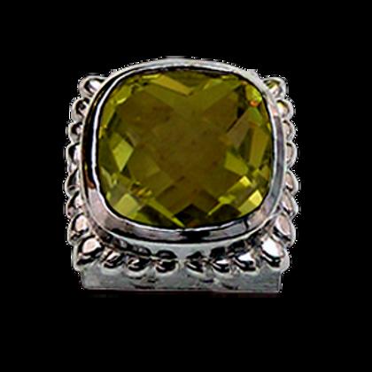Square Gemstones Sterling Silver Bezel with  Quartz Doublet Lemon