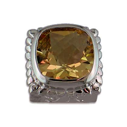 Square Gemstones Sterling Silver Bezel with Champagne Topaz