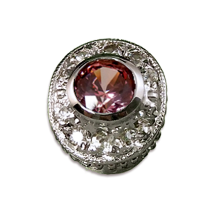 Oval Halo Collection Sterling Silver Bezel with CZ Fancy Pink & CZ