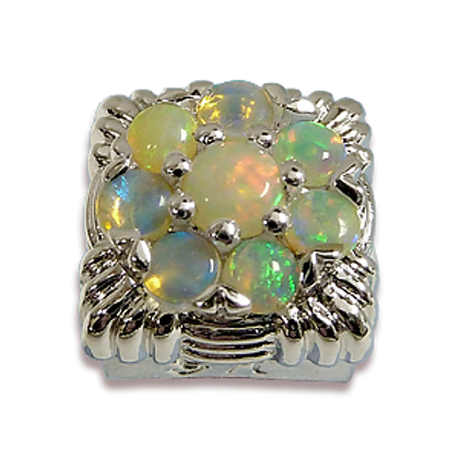 Square Gemstones Sterling Silver Bezel with Opal
