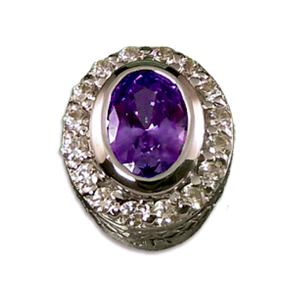 Oval Halo Collection Sterling Silver Bezel with Amethyst & CZ