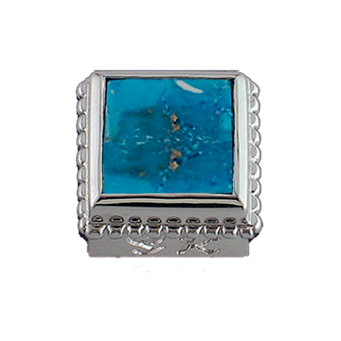 Square Opaque & CZ Sterling Silver Bezel with Turquoise