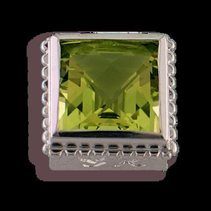 Square Gemstones Sterling Silver Bezel with Lemon Quartz