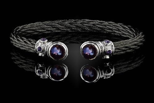 Capri Black Nouveau Braid Bracelet with Amethyst & Hematite Doublets