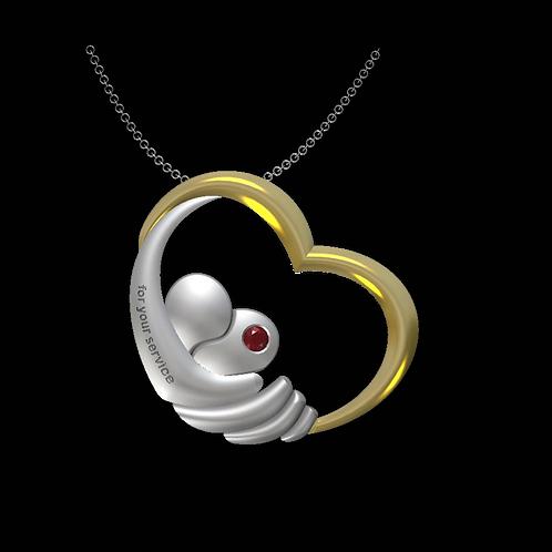 GK Cares Heart Service Pendant Sterling Silver & 14K Gold