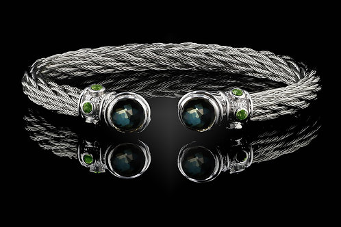 Capri White Nouveau Braid Bracelet with Green Amethyst & Hematite Doublets