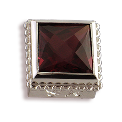 Square Gemstones Sterling Silver Bezel with Rhodalite Garnet
