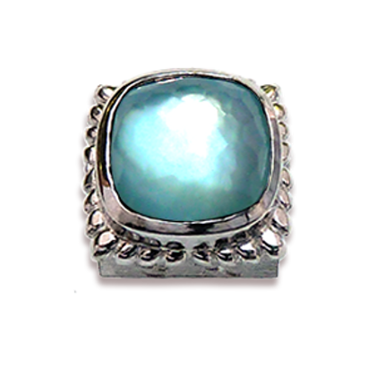 Square Natural Doublets Sterling Silver Bezel with Blue Topaz & MOP