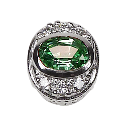 Oval Halo Collection Sterling Silver Bezel with CZ Fancy Green & CZ