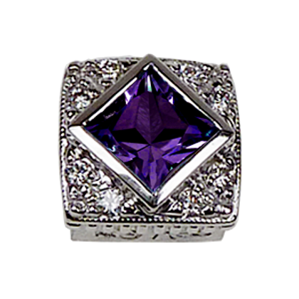Square Halo Collection Sterling Silver Bezel with Lab  Purple Sapphire & CZ