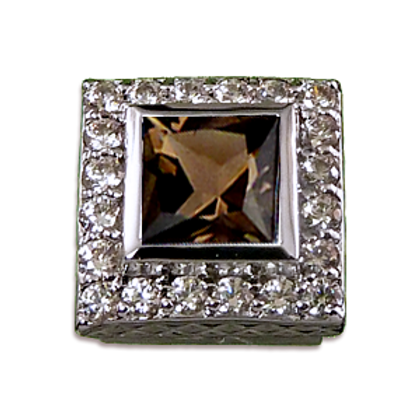 Square Halo Collection Sterling Silver Bezel with Smokey Topaz & CZ