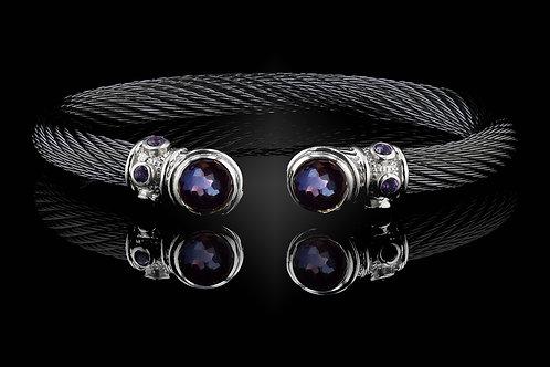 Capri Black Live Wire Bracelet with Amethyst & Hematite Doublets
