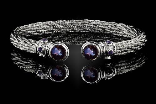 Capri White Nouveau Braid Bracelet with Amethyst & Hematite Doublets