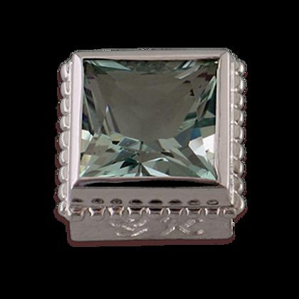 Square Gemstones Sterling Silver Bezel with Aquamarine