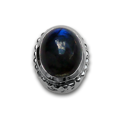 Oval Natural Doublets Sterling Silver Bezel with Labradorite & Hematite