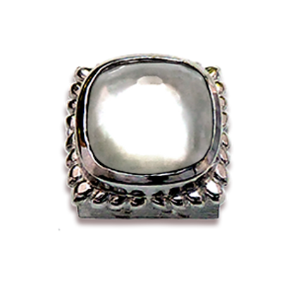 Square Natural Doublets Sterling Silver Bezel with Chrystal & MOP