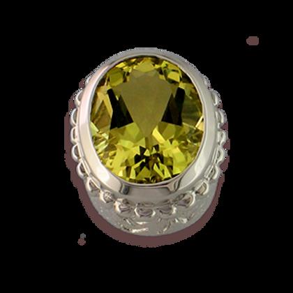 Oval Gemstones Sterling Silver Bezel with Lemon Quartz