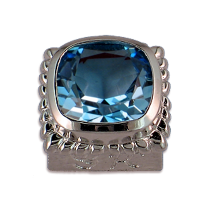 Square Gemstones Sterling Silver Bezel with Swiss Blue Topaz