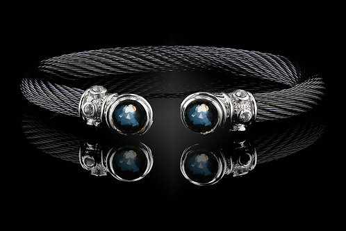 Capri Black Live Wire Bracelet with Crystal & Hematite Doublets