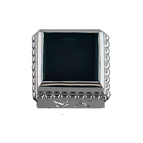 Square Opaque & CZ Sterling Silver Bezel with Black Onyx
