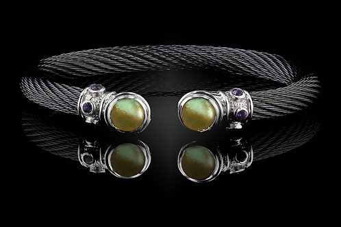 Capri Black Live Wire Bracelet with Lemon Quartz & Mother of Pearl Doublets