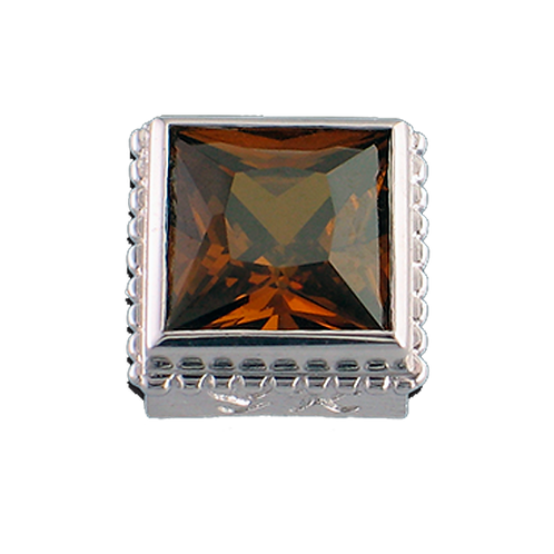 Square Opaque & CZ Sterling Silver Bezel with CZ Brown