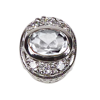 Oval Halo Collection Sterling Silver Bezel with White Topaz & CZ