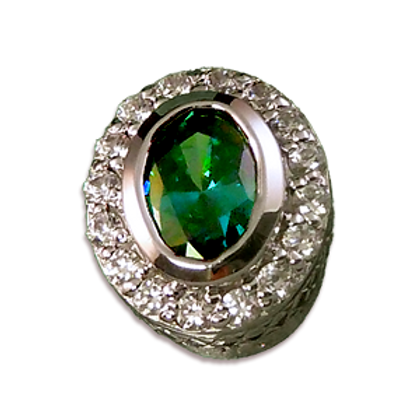 Oval Halo Collection Sterling Silver Bezel with Lab  Emerald & CZ