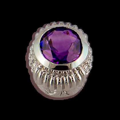 Oval Gemstones Sterling Silver Bezel with Amethyst