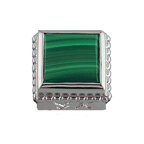 Square Opaque & CZ Sterling Silver Bezel with Malachite
