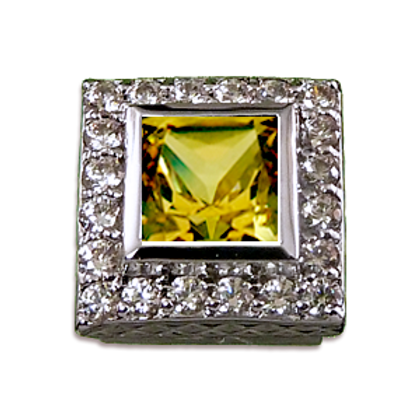 Square Halo Collection Sterling Silver Bezel with CZ Fancy Yellow & CZ
