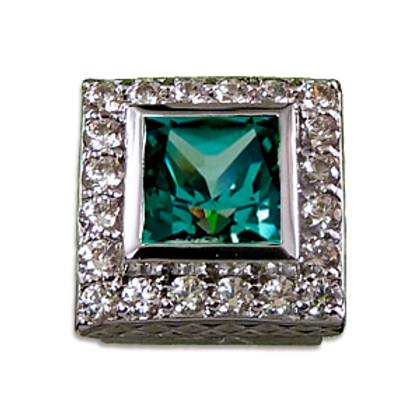 Square Halo Collection Sterling Silver Bezel with CZ Mint & CZ