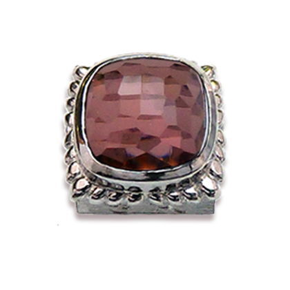 Square Natural Doublets Sterling Silver Bezel with Rhodalite & Chrystal