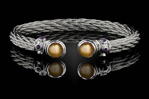 Capri White Nouveau Braid Bracelet with Citrine & Mother of Pearl Doublets