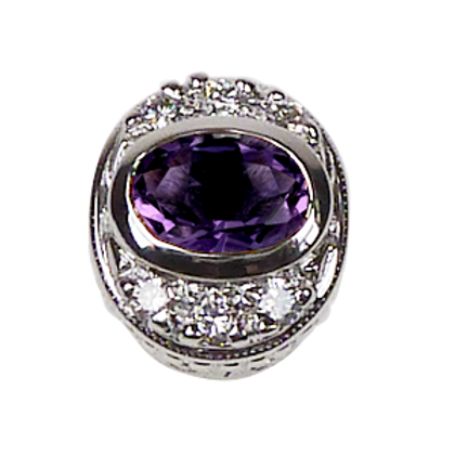 Oval Halo Collection Sterling Silver Bezel with Lab  Purple Sapphire & CZ