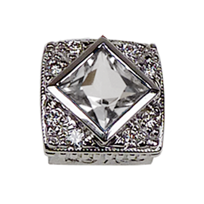 Square Halo Collection Sterling Silver Bezel with White Topaz & CZ